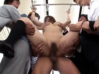 Hairy petite Asian fated apropos and masturbated rough at the end of one's tether a group