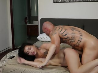 Getting sweaty with a young and blistering load of shit slut in his bed