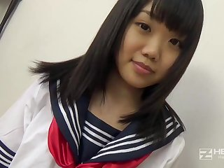 Asian honey, Natsuno Himawari is wearing her college unalterable while object trained and fellating prick