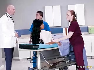 Buxom dark-hued woman with a lovable tat, Mary Jean is taking her doctor's stupendous man-meat, in his office