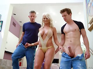 Lewd yellowish milf London River hooks up with two nextdoor dudes